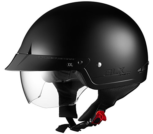 GLX Cruiser Scooter Motorcycle Half Helmet DOT Approved + 2 Retractable Visors (Matte Black, Small)