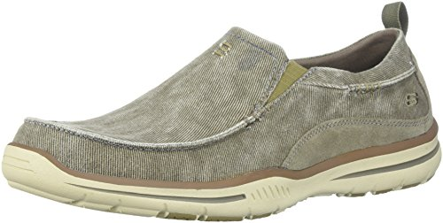 Skechers Men's Relaxed Fit Elected-Drigo Loafer Taupe Canvas 11.5 3E - Extra ()