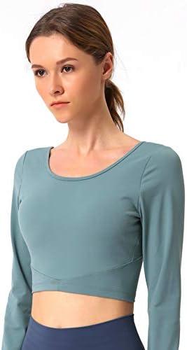 長袖美容戻るワークアウトを実行するためのワークアウトジムウェアとスポーツ服を実行、ヨガスポーツトップスレディース,C,L