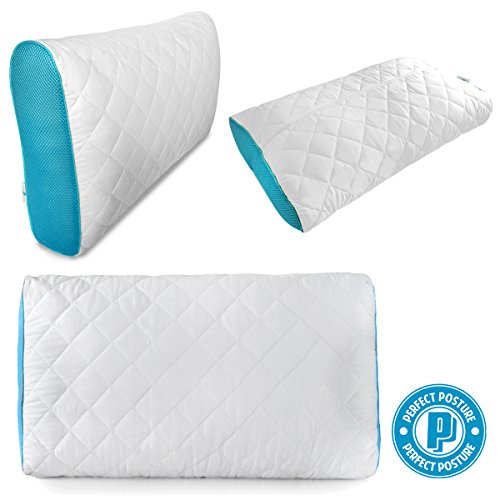 Perfect Posture - Premium Shredded Memory Foam Adjustable Pillow: NeverFlat Technology, Adjustable Loft, CoolTec Fabric, High Quality Materials (1-Count)