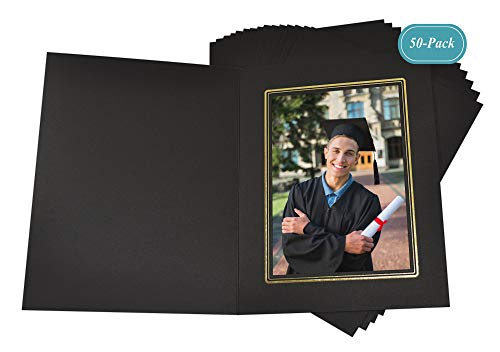 Golden State Art, Cardboard Photo Folder for a 4x6 Photo (Pack of 50) Black Color with Gold Lining
