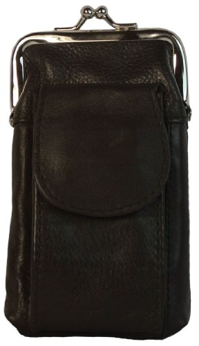 Womens Leather Cigarette Case with Large Pocket for Refillable Lighter (Dark Brown)