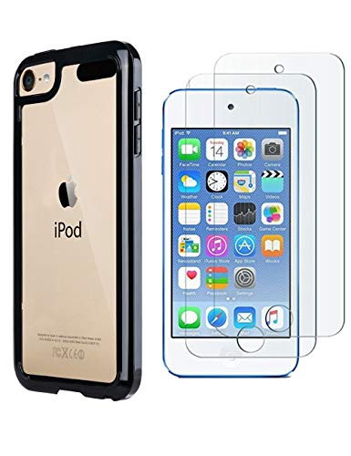ULAK iPod Touch Case with 2 Screen Protectors,iPod 6 Cases, Clear Slim Soft TPU Bumper Case for iPod Touch 5/6th/7th Generation Hard Cover (Black)