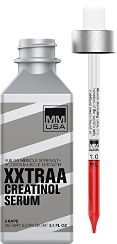 Creatine Serum XXTRA for Bodybuilding by MMUSA, Pre Workout for Strength + Energy and Intense Exercise Creatinol_O-Phosphate + L- Glutamine + L-Carnitine. Strawberry