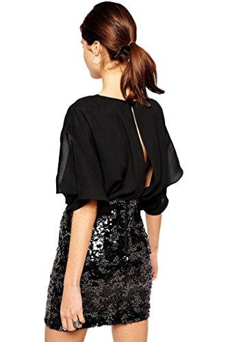 Bigood Robe de Soirée Femme Mousseline de Soie Faux Deux-pieces Pailleté