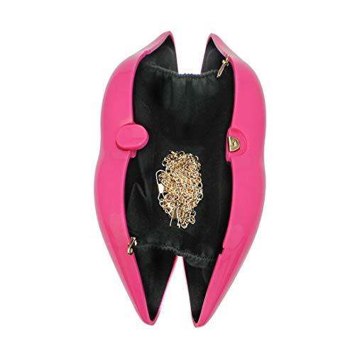 Red del Partido de Bolso Las para del Color acrílico Bolso del de Rojo Noche Hombro 3D Mini Cvthfyk el Bolso Mujeres del Pink Labio Crossbody Atractivo Mini ex FSExqn5O