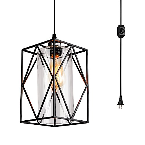 HMVPL Swag Lights with 16.4 Ft Plug in Cord and On/Off Dimmer Switch, New Transitional Hanging Pendant Lamps with Glass Lampshade for Dining Room, Bed Room - Match Chandelier Shade