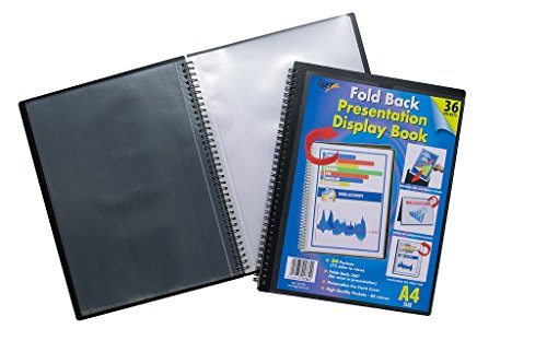 Presentation Portfolio Easel - A4 Easel Fold Back Flip Presentation Twin Wire Black Display Book - 36 Pockets