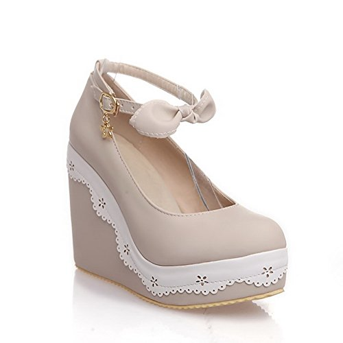 Con Pompe Pu Solidi Talloni Rotonda alti Punta Amoonyfashion Beige Metallo scarpe Donne Chiusa Delle Fibbia qw7B4