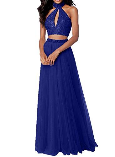 Zwei Abendkleider Blau Royal Tuell mit Rosa Steine Promkleider Abschlussballkleider Teilig Abiballkleider Charmant Damen q7XUw7t