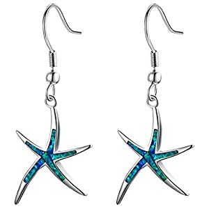 Sterling Silver Starfish Necklace Pendant Earrings Blue Opal White Opal or Green Opal Pendant Necklace