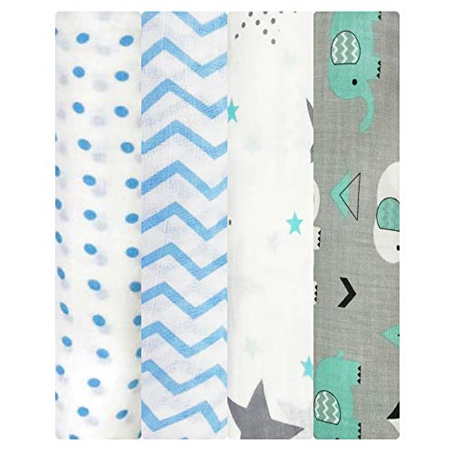 - Muslin Swaddle Blankets - Soft Silky 100% Muslin Cotton Swaddle Blanket for Baby, Large 47 x 47 inches, Set of 4- Zig Zag, Polka, Star & Elephant Print in Blue & Grey Pattern