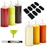 Plastic Squeeze Bottles by BestOffer | Squeeze Squirt Bottles for Sauces with Twist on Top 6 Pack 16 oz with Silicone Funnel White Marker and Sticker Set Clear