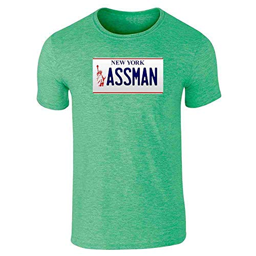 - Assman New York License Plate Short Sleeve T-Shirt Heather Irish Green