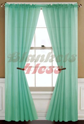 Green Curtains amazon green curtains : Amazon.com: Mint Green Solid 1 Sheer Window Curtain Panel: Kitchen ...