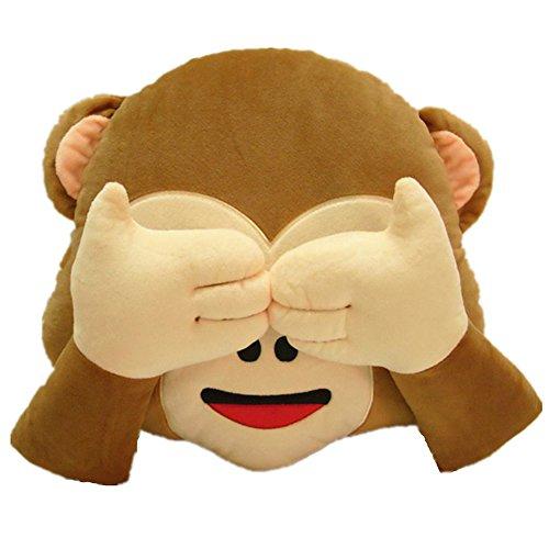 LI&HI Affe Emoji Lachen Emoticon Kissen Polster Dekokissen Stuhlkissen Sitzkissen Rund(nicht sehen)