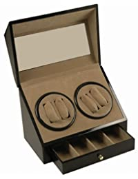 Generic ISPLAY STOR WINDER DISPLAY AY ST DOUBLE QUAD WATCH ER DISPLA BLACK WOOD 4+ 4 DOUBL STORAGE BOX/CASE ATIC DUAL DO AUTOMATIC DUAL