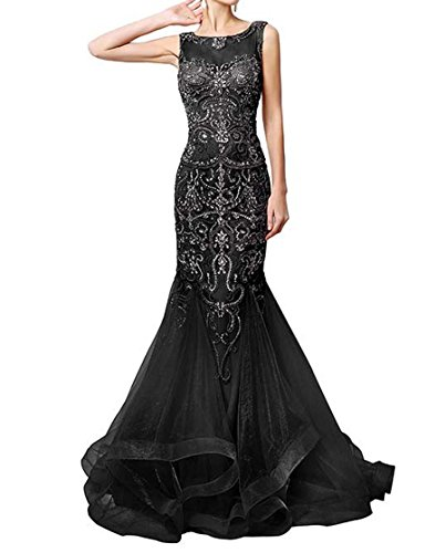Les Robes De Soirée Des Femmes Dkbridal Haut De Sirène Perles De Robes De Fête De Bal Longue Noir