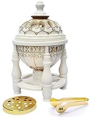 (Off-white) - AM Charcoal Incense Burner - Bakhoor Burner, Oud Frankincense Resin Burner - for Office & Home Decor - Lavish 4 Pillar White