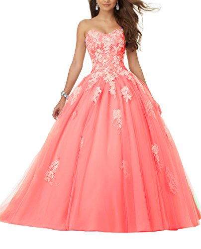 Eldecey Women's Sweetheart Lace Applique Sequins Tulle Strapless Floor Length Ball Gown Debutante Dress Hot Pink US22W