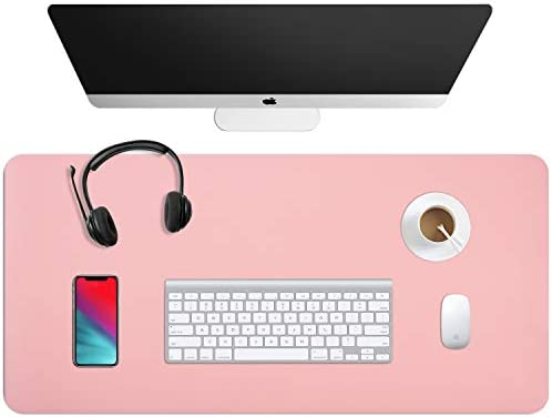 "WAYBER Dual Sided Leather Desk Pad, Waterproof Office Desk Mat, PU Mouse Pad, Desk Cover Protector, Desk Writing Mat for Office/Home/Work/Cubicle (35.4 x 17"" Pink/Silver)"