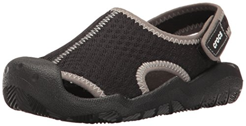 Crocs Kids' Swiftwater Sandal,Black/White,9 M US Toddler