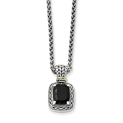 Sterling Silver and 14k Gold Onyx Necklace 18in