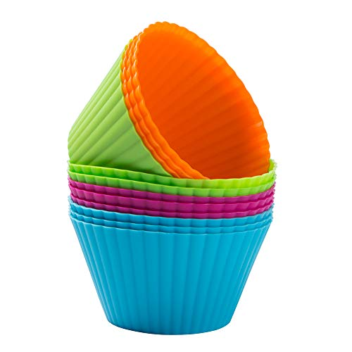 Webake Silicone Baking Cups Reusable 3.5 Inch Jumbo Muffin Pan Cupcake Baking Mold Auto Cup Holder Liner 12 Pack