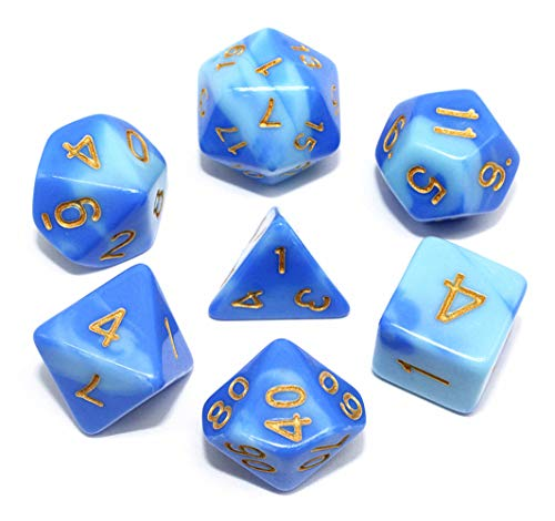 (HD DND Dice Set Blue & Light Blue RPG Polyhedral Dice Fit Dungeons and Dragons(D&D) Pathfinder MTG Tabletop Role Playing Game 7-Die Dice Set)