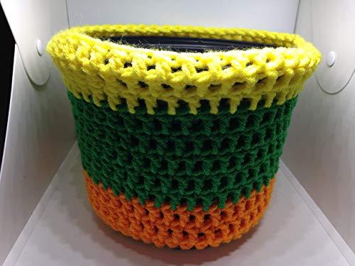 (Flower Pot Cover yellow orange green gardens seeds herbs plants handmade crochet)