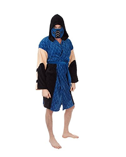 Mortal Kombat Men's Sub-Zero Hooded Plush Robe, Blue, One (Scorpion Sub Zero Costumes)