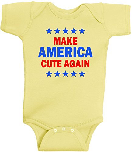 Make America Cute Again ! Donald Trump New Baby Romper Shower Gift Outfit (Banana Yellow, 6 Months)]()