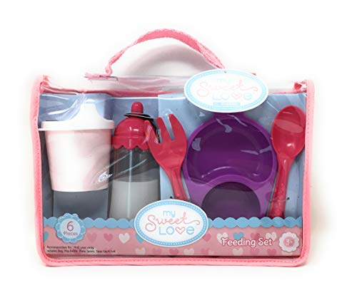 My Sweet Love Baby 6 Piece Feeding Set Bottle Milk Plate Spoon Fork Sippy Cup with Carry Bag