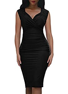 Domy Women's Formal Bodycon Dress Floral Lace Panel Ruched Sheath Dress