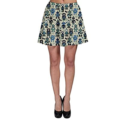 CowCow Green Robots Color Pattern Skater Skirt