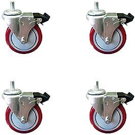 4 Inch Total Lock Caster – Red Polyurethane Wheel – 1/2″-13 x1-1/2″ Threaded Stem Set of 4