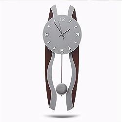 Modern Large Pendulum Clock Simple Wall Clock Retro Quiet Clock Brown