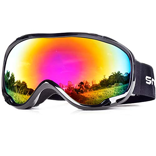 HUBO SPORTS Ski Snow Goggles for Men Women Adult,OTG Snowboard Goggles of Dual Lens with Anti Fog for UV Protection for Girls(BBPRed)