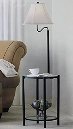 Glass End Table With Lamp: Mainstays Glass Furniture Floor Lamp (Matte Black Finish),Lighting