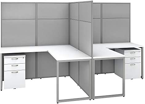 Bush Business Furniture Easy Office 2 Person L Shaped Cubicle Desk with Drawers, 60W x 66H, Pure White