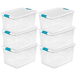 Sterilite 64 Quart Clear Storage Tote W/Lid, 23-3/4x16x13-1/2 - Lot of 6