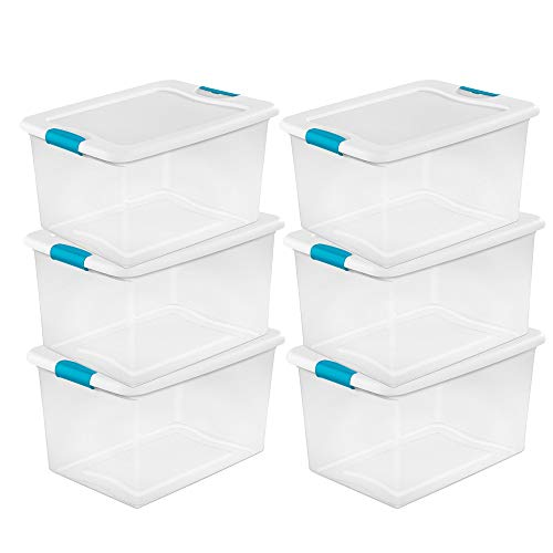 (Sterilite 64 Quart Clear Storage Tote W/Lid, 23-3/4x16x13-1/2 - Lot of 6)
