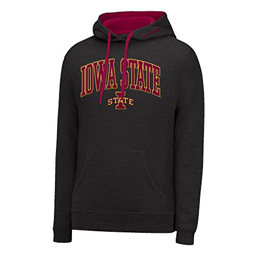 - J America NCAA Iowa State Cyclones Men's Single Dye Arched School Name Twill Hoodie, Small, Black HTR/Garnet