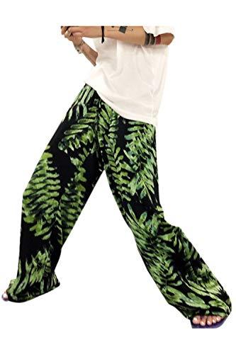 Lino Green Impronte Pantaloni Nei Lunghi Palazzo Casuali Simgahuva Lascia Donna Pantaloni Di 1Pxn40q