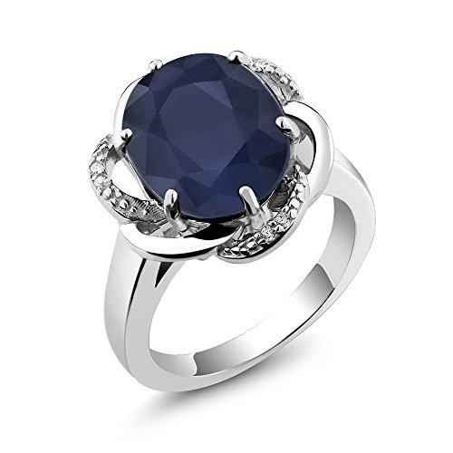 erling Silver Gemstone Birthstone Women's Ring (5.07 cttw, Available in size 5, 6, 7, 8, 9) (Blue Gemstone Ring)
