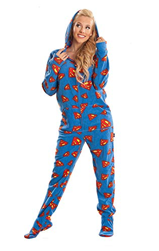 Jumpin Jammerz Superman Blue & Red Footed Onesie Pajamas for Men & Women (Extra Small) -
