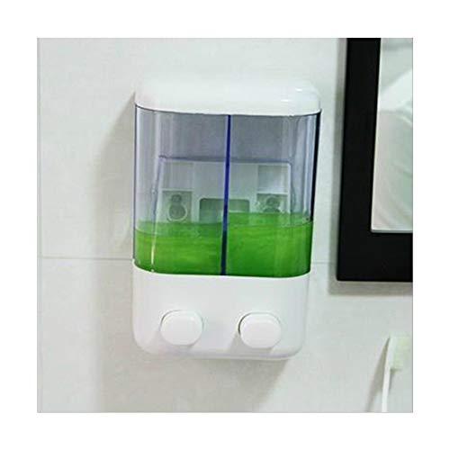 GOPG White Wall Mounted Mini Soap Dispenser, Plastic Refillable Lotion Dispenser for Hand Soap Shower Gel Shampoo Liquid Soap Dispenser-double-1000ML