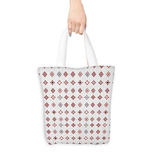 """Shopping work bag Abstract Diamond Shaped Geometric Figure with Inner Artful Forms Symbolic Architecture Icon Cosmetic bag 16.5""""x14""""x6.3"""" Red White from Anmaseven"""