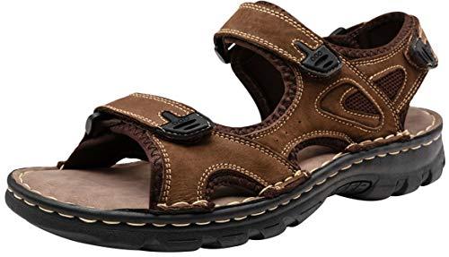 Brown Velcro Leather - JOUSEN Men's Sandals Outdoor Open Toe Water Beach Sandal Leather Sport Sandal (11,Dark Brown)