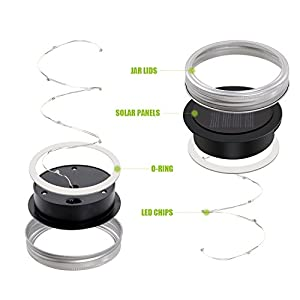 iThird Mason Jar Lights Lids Waterproof, Solar String Lights Outdoor Warm White 3 Pack 10 LED for Christmas Halloween Party Wedding Deck Garden Decorative Lighting(Jars Not Included)